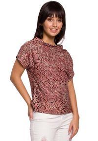 MOE - Łososiowa Wzorzysta Bluzka z Dekoltem Typu Woda. Kolor: różowy. Materiał: elastan, bawełna, poliester