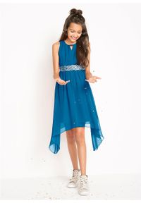 Niebieska sukienka bonprix asymetryczna, z dekoltem w serek, bez rękawów