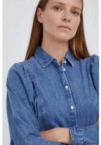 Lee - Koszula jeansowa. Okazja: na co dzień. Kolor: niebieski. Materiał: jeans. Długość rękawa: długi rękaw. Długość: długie. Wzór: gładki. Styl: casual