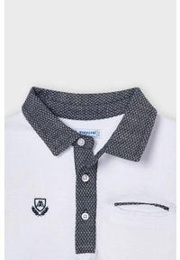 Biały t-shirt polo Mayoral casualowy, gładki, polo