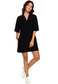 Czarna sukienka dzianinowa MOE mini, prosta