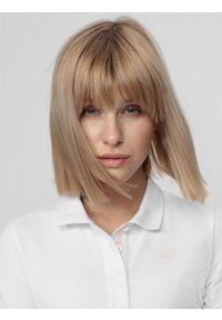 4f - Koszulka polo damska. Typ kołnierza: polo. Kolor: biały. Materiał: materiał. Długość rękawa: krótki rękaw