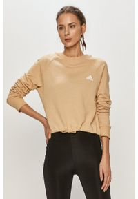Adidas - adidas - Bluza bawełniana. Okazja: na co dzień. Kolor: beżowy. Materiał: bawełna. Długość rękawa: długi rękaw. Długość: długie. Styl: casual