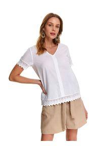 Biała bluzka TOP SECRET na lato, z krótkim rękawem