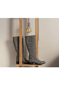 Szare kozaki Zapato z cholewką przed kolano, eleganckie, na jesień, wąskie