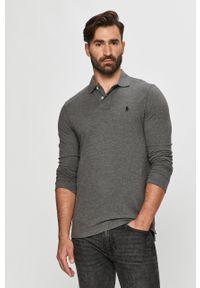 Szara koszulka z długim rękawem Polo Ralph Lauren na co dzień, polo