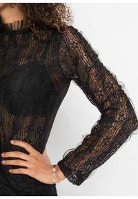 Bluzka z koronką bonprix czarny. Kolor: czarny. Materiał: koronka. Wzór: koronka