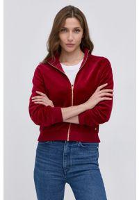 Guess - Bluza. Okazja: na co dzień. Kolor: czerwony. Materiał: dzianina. Długość rękawa: raglanowy rękaw. Styl: casual