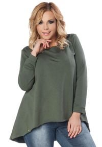 Zielona bluzka z długim rękawem Tessita plus size, z asymetrycznym kołnierzem