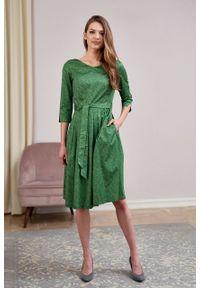 Marie Zélie - Sukienka Elina Idella zielona. Kolor: zielony. Materiał: bawełna, satyna, materiał. Długość rękawa: krótki rękaw. Typ sukienki: rozkloszowane. Styl: klasyczny