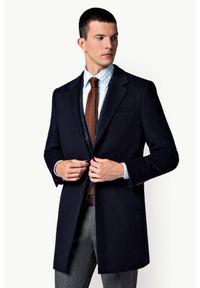 Lancerto - Płaszcz Granatowy Regent. Kolor: niebieski. Materiał: wełna, materiał, bawełna. Sezon: jesień. Styl: elegancki