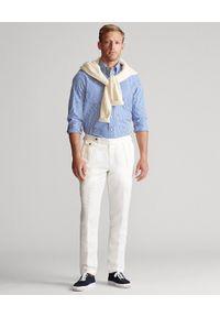 Ralph Lauren - RALPH LAUREN - Koszula z misiem Polo Custom Fit. Okazja: na co dzień. Typ kołnierza: polo. Kolor: niebieski. Materiał: bawełna, żakard, tkanina. Długość rękawa: długi rękaw. Długość: długie. Wzór: haft, paski. Styl: klasyczny, casual