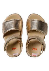 Bibi - Sandały BIBI - Baby Soft 1142016 White Gold. Zapięcie: pasek. Kolor: złoty. Materiał: skóra. Wzór: paski. Sezon: lato. Styl: wakacyjny, młodzieżowy