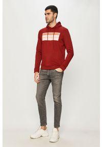 Czerwona bluza nierozpinana Jack & Jones na co dzień, z nadrukiem