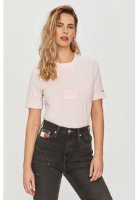Różowa bluzka TOMMY HILFIGER z aplikacjami, casualowa