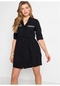 Krótka sukienka szmizjerka bonprix czarny. Kolor: czarny. Długość rękawa: długi rękaw. Typ sukienki: szmizjerki. Styl: elegancki. Długość: mini