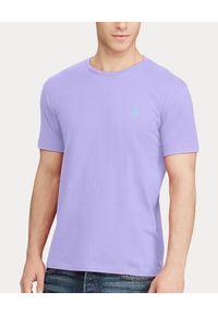 Ralph Lauren - RALPH LAUREN - Lawendowa koszulka Custom Slim Fit. Typ kołnierza: polo. Kolor: różowy, wielokolorowy, fioletowy. Materiał: bawełna. Wzór: haft