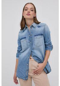 Guess - Koszula jeansowa. Okazja: na co dzień. Kolor: niebieski. Materiał: jeans. Długość rękawa: długi rękaw. Długość: długie. Styl: casual