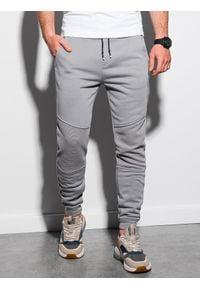 Ombre Clothing - Spodnie męskie dresowe P954 - szare - XXL. Kolor: szary. Materiał: dresówka. Wzór: gładki