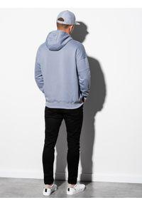 Ombre Clothing - Bluza męska z kapturem B1078 - błękitna - XXL. Typ kołnierza: kaptur. Kolor: niebieski. Materiał: poliester, bawełna