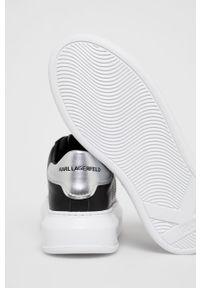Czarne sneakersy Karl Lagerfeld na obcasie, na sznurówki, z cholewką
