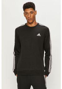 Czarna bluza nierozpinana Adidas bez kaptura, na co dzień, z aplikacjami, casualowa