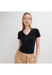Mohito - Bawełniana koszulka Eco Aware - Czarny. Kolor: czarny. Materiał: bawełna