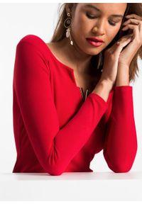 Sukienka z dekoltem carmen bonprix czerwony. Typ kołnierza: typu carmen. Kolor: czerwony