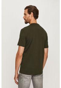 Zielony t-shirt Armani Exchange casualowy, na co dzień, z nadrukiem, z okrągłym kołnierzem