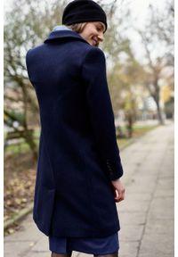 Marie Zélie - Płaszcz wełniany Debora granatowy – flausz. Kolor: niebieski. Materiał: wełna. Wzór: motyw zwierzęcy. Sezon: zima. Styl: klasyczny #3
