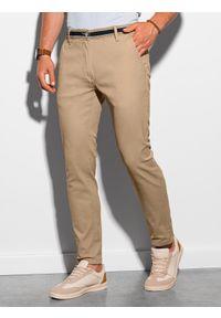 Ombre Clothing - Spodnie męskie chino P156 - beżowe - XXL. Okazja: na co dzień. Kolor: beżowy. Materiał: tkanina, elastan, bawełna. Styl: klasyczny, casual
