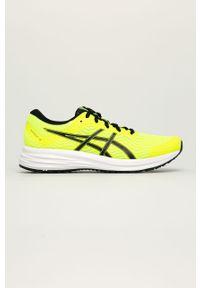 Żółte sneakersy Asics z okrągłym noskiem, na sznurówki, z cholewką