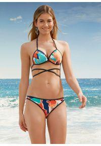 Bikini push up (2 części) bonprix jasnopomarańczowy z nadrukiem. Kolor: pomarańczowy. Wzór: nadruk