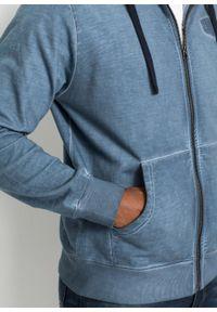 """Bluza rozpinana z kapturem bonprix niebieski """"used"""". Typ kołnierza: kaptur. Kolor: niebieski #5"""