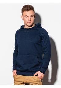 Ombre Clothing - Bluza męska z kapturem B1085 - granatowa - XXL. Typ kołnierza: kaptur. Kolor: niebieski. Materiał: poliester, bawełna #5