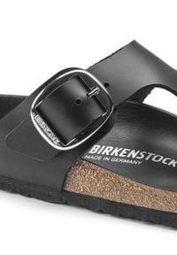 Birkenstock - BIRKENSTOCK - Czarne klapki Gizeh Big Bucle. Kolor: czarny. Materiał: bawełna, zamsz, jeans. Sezon: lato. Styl: klasyczny
