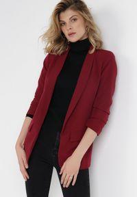 Born2be - Bordowa Marynarka Alexithise. Okazja: na co dzień. Kolor: czerwony. Materiał: jeans. Wzór: aplikacja. Styl: sportowy, klasyczny, casual