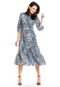 e-margeritka - Sukienka w zwierzęce wzory midi - 42. Okazja: na co dzień. Materiał: tkanina, elastan, poliester. Wzór: motyw zwierzęcy. Styl: casual. Długość: midi