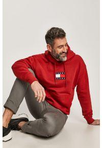 Brązowa bluza nierozpinana Tommy Jeans na co dzień, casualowa, z kapturem, z aplikacjami