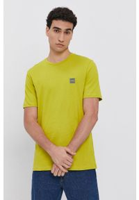 BOSS - Boss - T-shirt bawełniany. Okazja: na co dzień. Kolor: zielony. Materiał: bawełna. Styl: casual