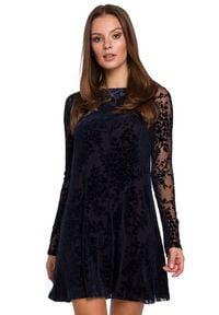 Makover - Ekskluzywna koronkowa trapezowa sukienka. Okazja: na randkę, na imprezę. Materiał: koronka. Typ sukienki: trapezowe. Styl: wizytowy, klasyczny, elegancki. Długość: mini