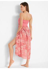 Sukienka plażowa z dekoltem bandeau bonprix stary jasnoróżowy - rabarbarowy z nadrukiem. Okazja: na plażę. Kolor: różowy. Wzór: nadruk. Styl: retro