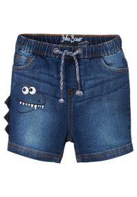 """Bermudy dżinsowe chłopięce Regular Fit bonprix niebieski """"stone"""". Kolor: niebieski. Wzór: aplikacja"""