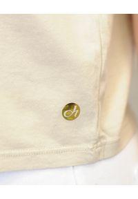 Deha - DEHA - Beżowy t-shirt z falbanką. Kolor: beżowy. Materiał: jeans, bawełna. Sezon: wiosna