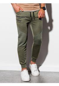 Brązowe spodnie Ombre Clothing z aplikacjami