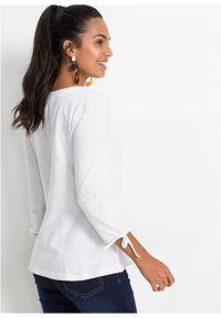 Biała bluzka bonprix elegancka, z okrągłym kołnierzem