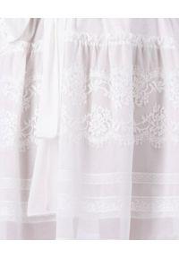 Ermanno Firenze - ERMANNO FIRENZE - Biała bawełniana sukienka z wiązaniem. Okazja: na co dzień. Kolor: biały. Materiał: bawełna. Wzór: aplikacja, koronka. Sezon: lato, wiosna. Typ sukienki: oversize. Styl: casual. Długość: mini