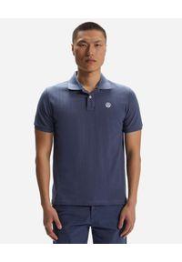 North Sails - NORTH SAILS - Granatowa koszulka polo z naszywanym logo. Typ kołnierza: polo. Kolor: niebieski. Materiał: bawełna. Wzór: aplikacja