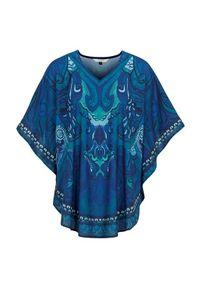 Niebieska tunika Cellbes z dekoltem w serek, elegancka