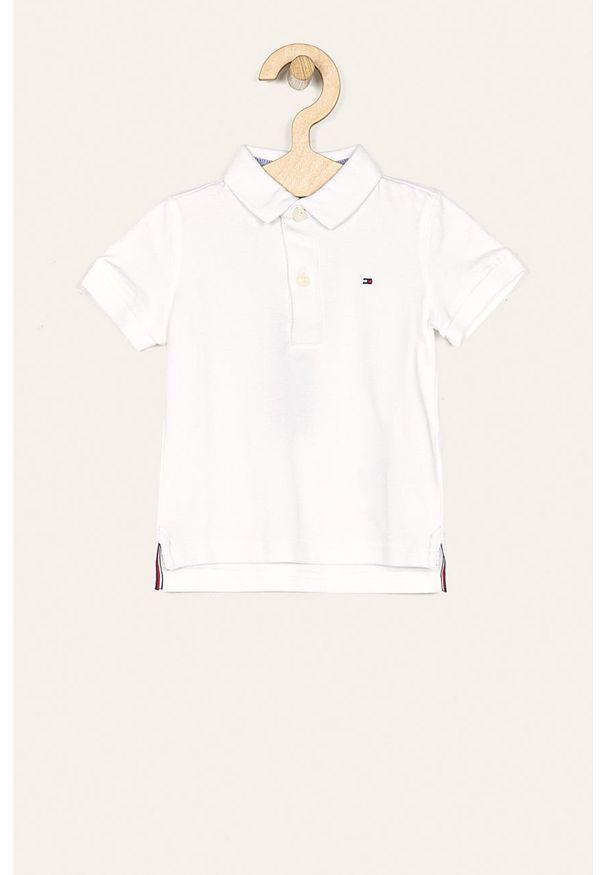 Biały t-shirt polo TOMMY HILFIGER krótki, polo